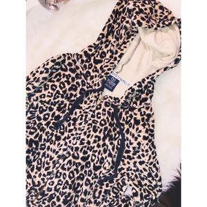 PINK VS Leopard Velour Hoodie✨XSMALL
